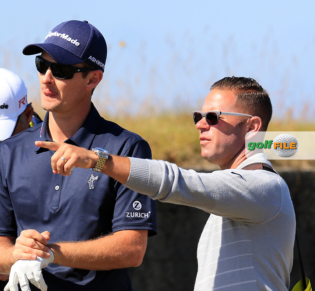 Justin Rose (ENG) and coach Sean Foley on the 18th tee during Wednesday's Practice Day of the 2015 U.S. Open 115th National Championship held at Chambers Bay, Seattle, Washington, USA. 6/17/2015.<br /> Picture &copy; Golffile/Eoin Clarke