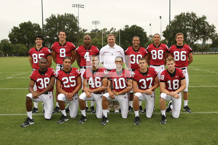 7 August 2006: Position Photos during Stanford Football's Picture Day at the Stanford practice field in Stanford, CA. Top Row (L-R): Nate Wilcox-Fogel, Evan Moore, Mark Bradford, Tucker Waugh, Marcus McCutcheon, Michael Miller, Kelton Lynn. Bottom Row (L-R): Austin Yancy, Stephen Carr, Robert Polk, Marcus Rance, Mark Mueller, Charlie Hazlehurst.