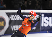 SHORTTRACK: DORDRECHT: Sportboulevard Dordrecht, 25-01-2015, ISU EK Shorttrack, 1000m Men Finale A, Winnaar Sjinkie KNEGT (NED | #1), ©foto Martin de Jong