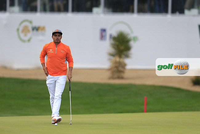 Rickie Fowler (USA) on the 17th green during the final round of the Waste Management Phoenix Open, TPC Scottsdale, Scottsdale, Arisona, USA. 03/02/2019.<br /> Picture Fran Caffrey / Golffile.ie<br /> <br /> All photo usage must carry mandatory copyright credit (© Golffile | Fran Caffrey)