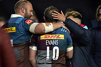 Nick Evans of Harlequins with team-mates after his final home game for the club. Aviva Premiership match, between Harlequins and Wasps on April 28, 2017 at the Twickenham Stoop in London, England. Photo by: Patrick Khachfe / JMP