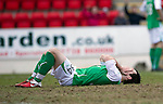 St Johnstone v Hibs....05.03.11 .Richie Towell holds his head after scoring an own goal.Picture by Graeme Hart..Copyright Perthshire Picture Agency.Tel: 01738 623350  Mobile: 07990 594431