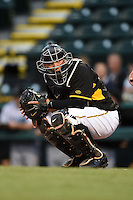 Bradenton Marauders catcher Jin-De Jhang (47) looks to the dugout during a game against the Jupiter Hammerheads on April 19, 2014 at McKechnie Field in Bradenton, Florida.  Bradenton defeated Jupiter 4-0.  (Mike Janes/Four Seam Images)