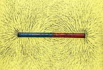 Magnetic field shown with iron grains, cylindrical magnet...