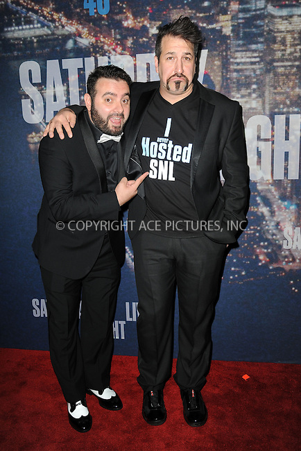 WWW.ACEPIXS.COM<br /> February 15, 2015 New York City<br /> <br /> Chris Kirkpatrick and Joey Fatone walking the red carpet at the SNL 40th Anniversary Special at 30 Rockefeller Plaza on February 15, 2015 in New York City.<br /> <br /> Please byline: Kristin Callahan/AcePictures<br /> <br /> ACEPIXS.COM<br /> <br /> Tel: (646) 769 0430<br /> e-mail: info@acepixs.com<br /> web: http://www.acepixs.com