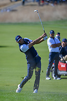 Dustin Johnson (Team USA) watches his approach shot on 10 during Saturday's foursomes of the 2018 Ryder Cup, Le Golf National, Guyancourt, France. 9/29/2018.<br /> Picture: Golffile | Ken Murray<br /> <br /> <br /> All photo usage must carry mandatory copyright credit (&copy; Golffile | Ken Murray)