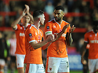 Blackpool's Curtis Tilt (right) and Jordan Thompson applaud the fans at full time<br /> <br /> Photographer Kevin Barnes/CameraSport<br /> <br /> Emirates FA Cup First Round - Exeter City v Blackpool - Saturday 10th November 2018 - St James Park - Exeter<br />  <br /> World Copyright &copy; 2018 CameraSport. All rights reserved. 43 Linden Ave. Countesthorpe. Leicester. England. LE8 5PG - Tel: +44 (0) 116 277 4147 - admin@camerasport.com - www.camerasport.com