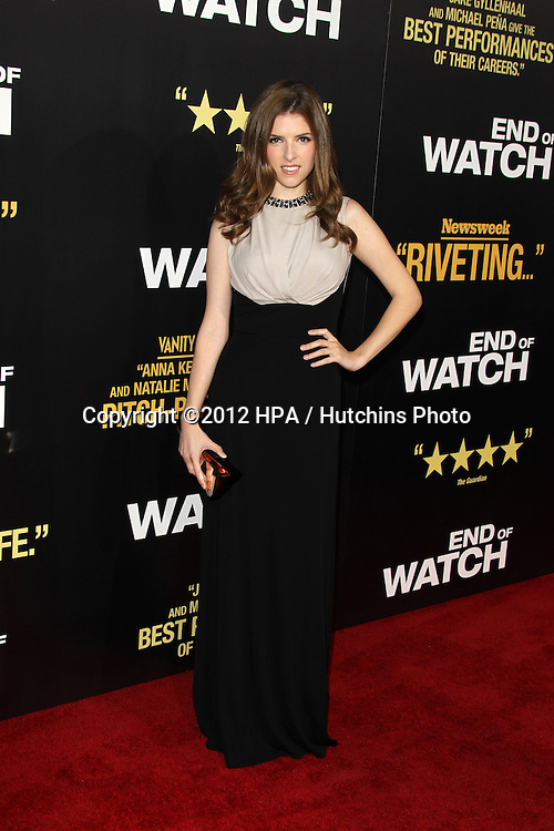"""LOS ANGELES - SEP 17:  Anna Kendrick arrives at the """"End Of Watch"""" Premiere at Regal Cinemas L.A. Live on September 17, 2012 in Los Angeles, CA"""