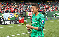 Portland, OR - Saturday April 29, 2017: Adrianna Franch after a regular season National Women's Soccer League (NWSL) match between the Portland Thorns FC and the Chicago Red Stars at Providence Park.