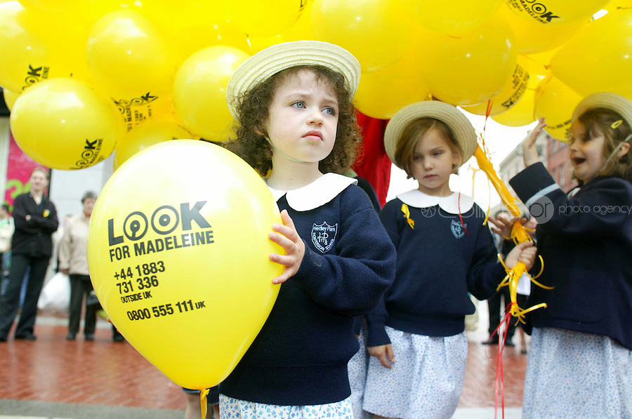 22/06/2007.School Child from Hedley Park school Aoibh Brady (4)   at the launch of balloons into the sky  to mark to 50th day of 4 year old child Madeline McCann on Grafton St, Dublin..Photo: Gareth Chaney Collins