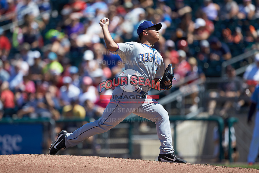Durham Bulls relief pitcher Chih-Wei Hu (19) in action against the Lehigh Valley Iron Pigs at Coca-Cola Park on July 30, 2017 in Allentown, Pennsylvania.  The Bulls defeated the IronPigs 8-2.  (Brian Westerholt/Four Seam Images)