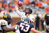 Southern Miss Golden Eagles quarterback Austin Davis (12) throws the ball during the game at Scott Stadium. Virginia was defeated 30-24. (Photo/Andrew Shurtleff)