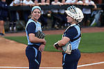 25 April 2016: North Carolina's battery Kendra Lynch (left) and Katie Bailiff (right). The University of North Carolina Tar Heels hosted the University of Notre Dame Fighting Irish at Anderson Stadium in Chapel Hill, North Carolina in a 2016 NCAA Division I softball game. UNC won the game 7-6.