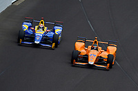 Verizon IndyCar Series<br /> Indianapolis 500 Race<br /> Indianapolis Motor Speedway, Indianapolis, IN USA<br /> Sunday 28 May 2017<br /> Fernando Alonso, McLaren-Honda-Andretti Honda passes Alexander Rossi, Andretti Herta Autosport with Curb-Agajanian Honda for the lead of the race.<br /> World Copyright: F. Peirce Williams<br /> LAT Images