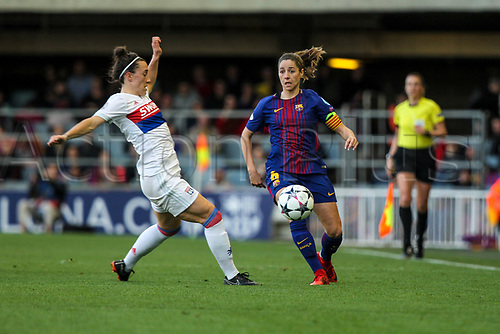 28th March 2018, Mini Estad, Barcelona, Spain; Womens Champions League football, quarter final, 2nd leg, Barcelona Women versus Lyon Women; Vicky Losada of FC Barcelona passes the ball forward along the wing
