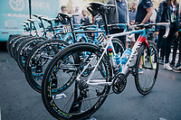 World Champion Alejandro Valverde's (ESP/Movistar) brand new rainbow bike at the race start in Bergamo<br /> <br /> 112th Il Lombardia 2018 (ITA)<br /> from Bergamo to Como: 241km