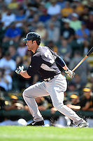 New York Yankees first baseman Garrett Jones (33) during a Spring Training game against the Pittsburgh Pirates on March 5, 2015 at McKechnie Field in Bradenton, Florida.  New York defeated Pittsburgh 2-1.  (Mike Janes/Four Seam Images)
