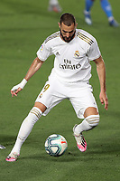 2nd July 2020, Madrid, Spain;  Real Madrids Karim Benzema cotrols the ball during the Spanish league football match between Real Madrid and Getafe in Madrid, Spain