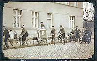BNPS.co.uk (01202 558833)<br /> Pic: AlexanderHistoricalAuctions/BNPS<br /> <br /> SS members on a cycle ride spreading propaganda.<br /> <br /> Chilling early photographs of the Nazi party which show Adolf Hitler basking in the adulation of his fanatical supporters and Jews being persecuted have been unearthed.<br /> <br /> The disturbing images from an SS officer's photo album date from 1931 to 1935 so they cover the period of the Nazis' rise to power and the first two years of the dictatorship.<br /> <br /> The album was recovered by US Army officer Philips Parks Ramsey after the war but his family have now decided to put it up for auction and it is tipped to sell for &pound;1,500 ($2,000).