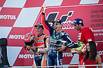 VALENCIA, SPAIN - NOVEMBER 11:  Marc Marquez, Jorge Lorenzo and Andrea Iannone celebration during Valencia MotoGP 2016 at Ricardo Tormo Circuit on November 11, 2016 in Valencia, Spain
