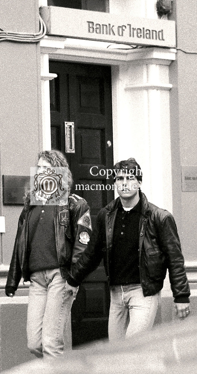 Hollywood superstars Tom Cruise and Nicole Kidman  pictured outside the Bank of Ireland in Dingle Co. Kerry in 1991 a few weeks after their high profile marriage. The couple were viewing the scenes in Dingle for their movie 'Far and Away'<br /> Picture by Don MacMonagle