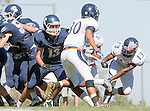 Palos Verdes, CA 09/24/16 - Ryan Kennedy (Chadwick #13) and Kellen Hirayama (Rolling Hills #30) in action during the non-conference CIF 8-Man Football  game between Rolling Hills Prep and Chadwick at Chadwick.