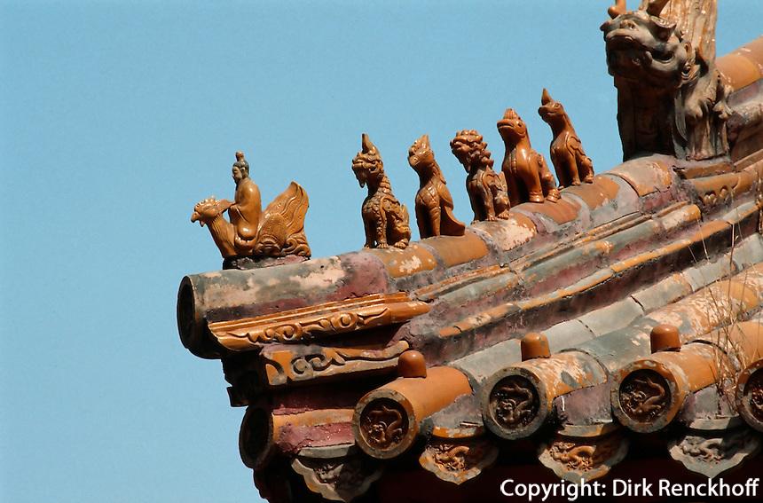 China, Kaiserpalast von Peking, östliche lange Straße, Dachreiter, Unesco-Weltkulturerbe