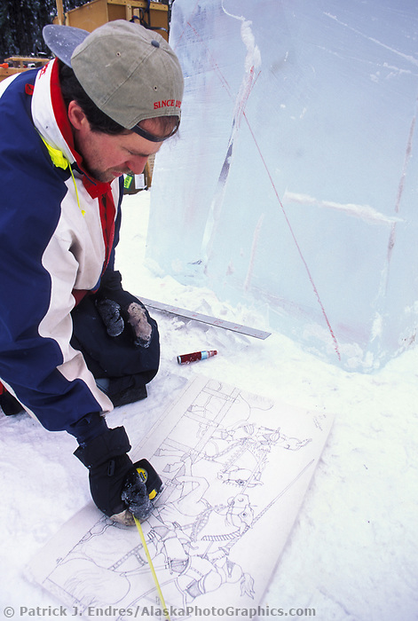 Ice sculptor at the World Ice Championships in Fairbanks, Alaska