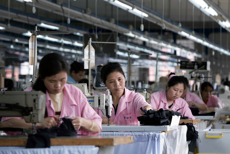 Factory workers sew bras in the Top Form factory.