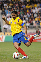 Mario Yepes (3) of Colombia (COL). The men's national teams of the United States (USA) and Colombia (COL) played to a 0-0 tie during an international friendly at PPL Park in Chester, PA, on October 12, 2010.