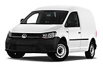 Stock pictures of low aggressive front three quarter view of a 2019 Volkswagen Caddy Van Base 4 Door Car van