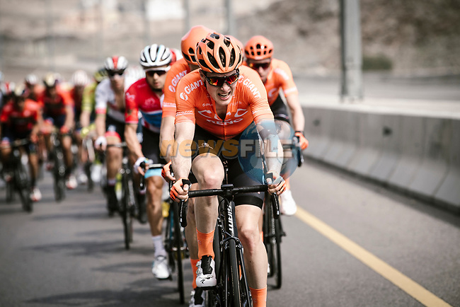 Gijs Van Hoecke (BEL) CCC Team leads the peloton during Stage 4 of 10th Tour of Oman 2019, running 131km from Yiti (Al Sifah) to Oman Convention and Exhibition Centre, Oman. 19th February 2019.<br /> Picture: ASO/P. Ballet | Cyclefile<br /> All photos usage must carry mandatory copyright credit (© Cyclefile | ASO/P. Ballet)