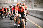 Gijs Van Hoecke (BEL) CCC Team leads the peloton during Stage 4 of 10th Tour of Oman 2019, running 131km from Yiti (Al Sifah) to Oman Convention and Exhibition Centre, Oman. 19th February 2019.<br /> Picture: ASO/P. Ballet | Cyclefile<br /> All photos usage must carry mandatory copyright credit (&copy; Cyclefile | ASO/P. Ballet)