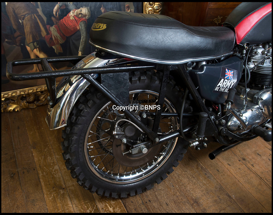 BNPS.co.uk (01202 558833)Pic: PhilYeomans/BNPS<br /> <br /> Bumpy ride -   the two 'trick' bikes have no rear suspension.<br /> <br /> The iconic motorcycles used by the disbanded White Helmets are to be auctioned - but it is feared none of the riders will be able to afford to buy their beloved bikes.<br /> <br /> After the famous Army daredevil display team performed their last ever event in August, their 30 Triumph bikes were split up.<br /> <br /> The Army has given permission for six of them to be sold to the public at an auction in Sherborne, Dorset.<br /> <br /> Although the famous machines have been given pre-sale estimates of £6,000 each they are likely to fetch double if not treble that figure.