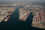 Aerial view of the Port of Long Beach, CA