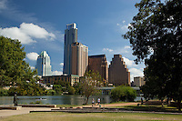 A host of joggers are regulars on the Town Lake Hike and Bike Trail because of its visual beauty. Some prefer paths that follow picturesque creeks; others seek the serenity of primitive trails in undeveloped areas. Because sunny skies and mild climate make it possible to jog year-round in Austin, citizens have ample occasion to experience the diverse trail system.