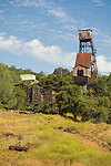 Kennedy Mine headframe and stamp mill ruins, Jackson, Calif.