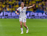 LE HAVRE,  - JUNE 20: Kelley O'Hara #5 yells to her team during a game between Sweden and USWNT at Stade Oceane on June 20, 2019 in Le Havre, France.