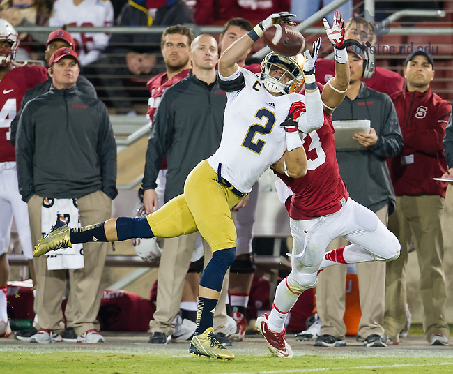 Nov. 30, 2013; Cornerback Bennett Jackson (2) picks off a pass intended for Stanford Cardinal wide receiver Michael Rector (3) in the fourth quarter.<br /> <br /> Photo by Matt Cashore