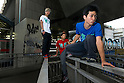 August 8, 2012, Tokyo, Japan - Parkour is a modern method of physical training, also known as freerunning. It was founded in France in the 1990s. There is a small group of around 50 parkour practitioners in Tokyo. (Photo by Tony McNicol/AFLO)