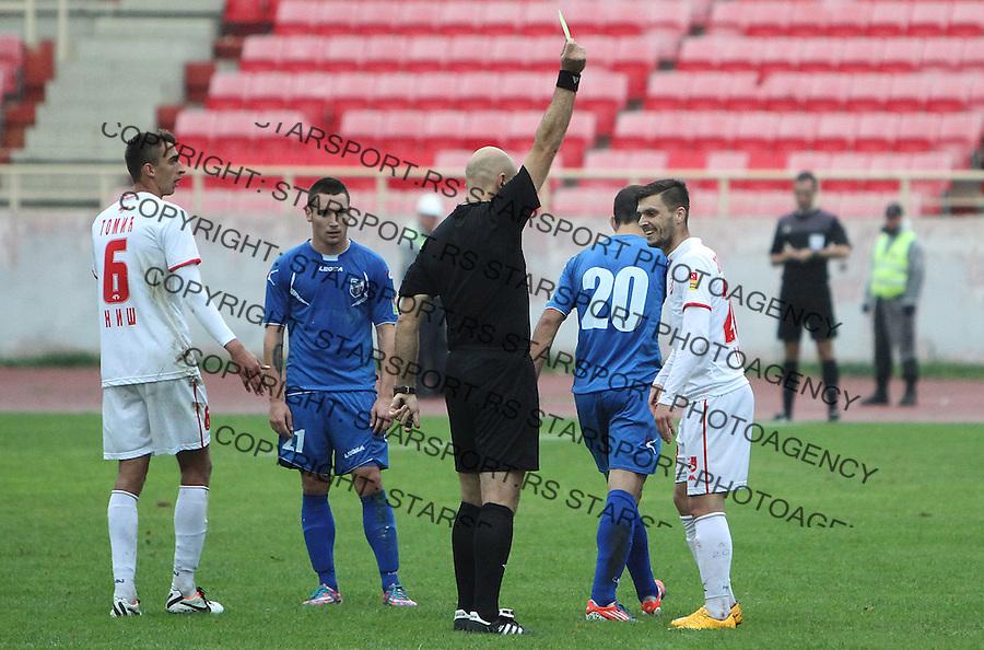 Fudbal Super liga season 2015-2016<br /> Radnicki (Nis) v Jagodina<br /> Radnicki Antom Zemlyanukhin zuti karton<br /> Nis, 27.09.2015.<br /> foto: Sasa Djordjevic/Starsportphoto &copy;