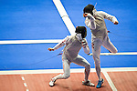 (L-R) Ryo Miyake (JPN), Cheung Siu Lun (HKG),<br /> AUGUST 9, 2013 - Fencing :<br /> World Fencing Championships Budapest 2013, Men's Individual Foil Round of 64 at Syma Hall in Budapest, Hungary. (Photo by Enrico Calderoni/AFLO SPORT) [0391]