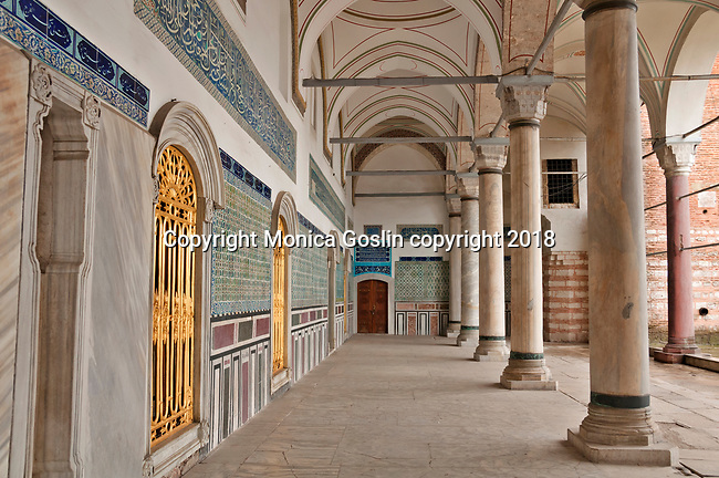 Topkapi Palace, the 15th century palace where sultans lived for 400 years; this hall is decorated with Iznik style tiles