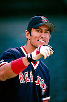 Nomar Garciaparra of the Boston Red Sox plays in a baseball game at Edison International Field during the 1998 season in Anaheim, California. (Larry Goren/Four Seam Images)