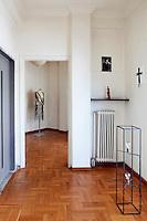 hallway with art pieces