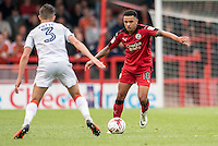 Billy Clifford of Crawley Town (18) and Dan Potts of Luton Town (3)  during the Sky Bet League 2 match between Crawley Town and Luton Town at the Broadfield/Checkatrade.com Stadium, Crawley, England on 17 September 2016. Photo by Edward Thomas / PRiME Media Images.