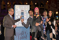 LAS VEGAS, NV - November 20 : John Capraella with Gilles Marini with his wife Carole, daughter Juiliana, and son Georges pictured flipping the lights off as The Venetian and The Palazzo kick off 2nd annual Winter in Venice on November 20, 2012 at The Venetian in Las Vegas, Nevada.  Credit: Kabik/ Starlitepics / MediaPunch Inc.