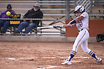 Western Nevada College Wildcats' Makaylee Jaussi hits against College of Southern Idaho at Edmonds Sports Complex, in Carson City, Nev., on Friday, Feb. 27, 2015. CSI won the opener 11-2.<br /> Photo by Cathleen Allison/Nevada Photo Source