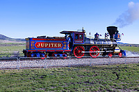 The Central Pacific Railroad's locomotive #60, The Jupiter, makes its way into position for the ceremonies celebrating the 150th anniversary of the completion of the Transcontinental Railroad and the driving of the golden spike on the morning of May 10, 2019.
