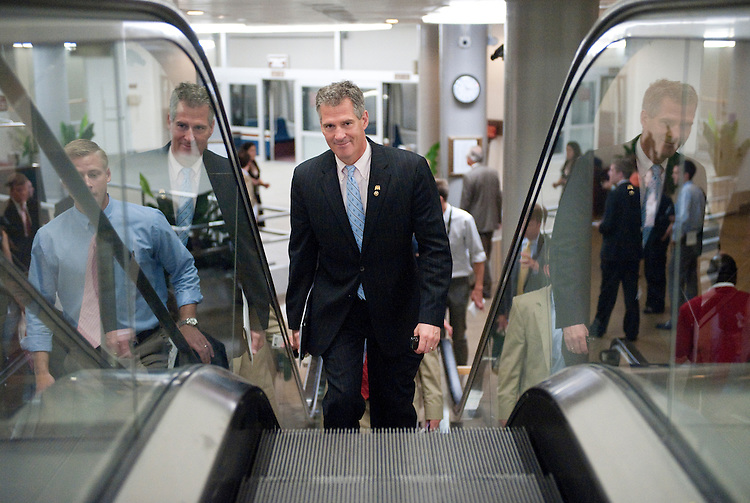 UNITED STATES - JUNE 29: Sen. Scott Brown, R-Mass., arrives in the Capitol for a vote via the Senate subway on Wednesday, June 29, 2011. (Photo By Bill Clark/Roll Call)
